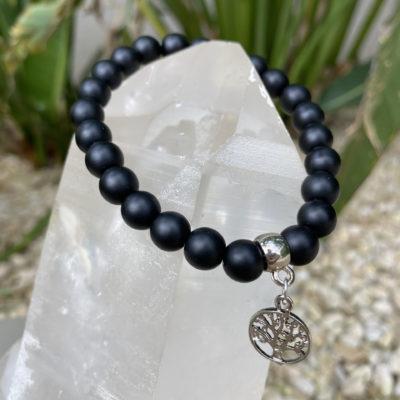 Japamala – ágata preta fosca com pingente